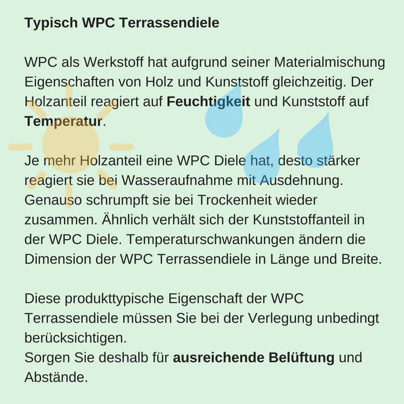 Produkttypische Eigenschaften einer WPC-Terrasse