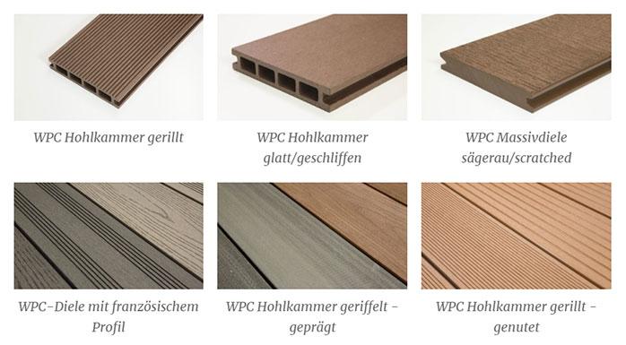 WPC Hohlkammer gerillt - WPC Hohlkammer glatt-geschliffen - WPC Massivdiele sägerau-scratched
