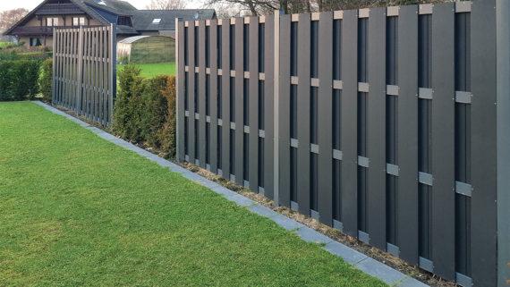 WPC Sichtschutz System | Planeo Fertigelement | Materialmix WPC + Alu