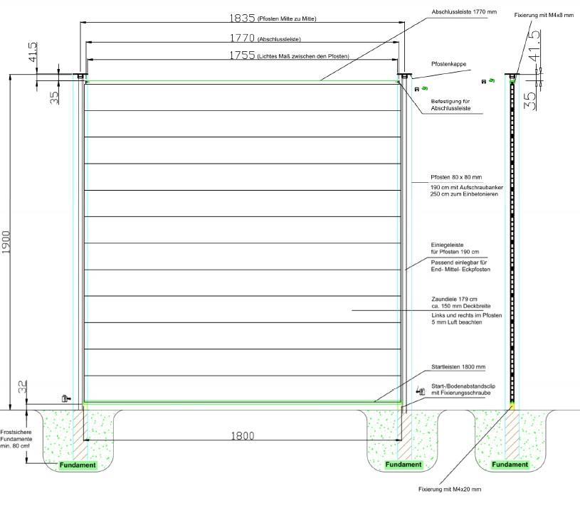 Planeo WPC Sichtschutzzaun Skizze