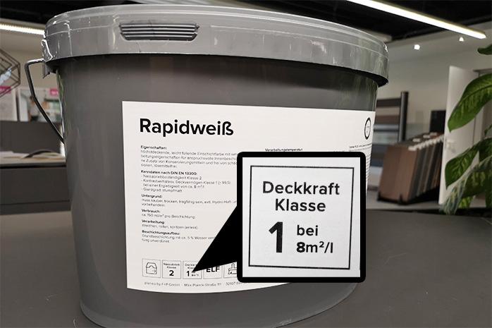 Deckkraftklasse von der Wandfarbe planeo Rapidweiß