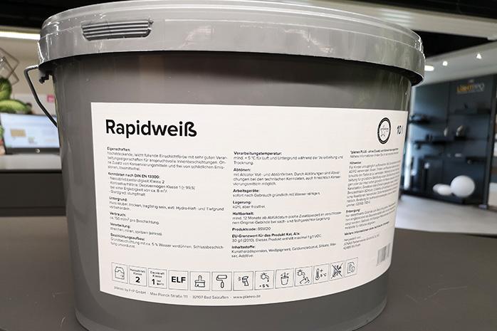 Etikett von der Wandfarbe planeo Rapidweiß