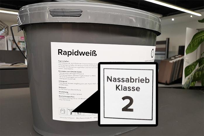 Nassabriebklasse von der Wandfarbe planeo Rapidweiß
