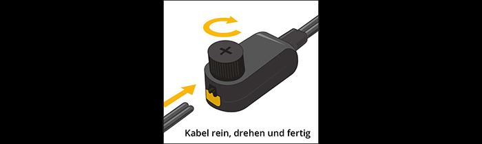 Streckenkabel am Verbindungsstück (Artikel-Nr. 138A 143A) befestigen.